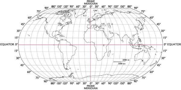 Mapa-múndi com latitude e longitude