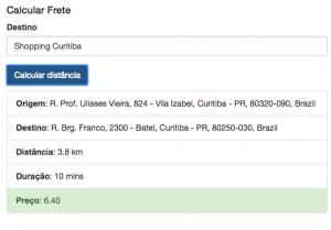 Calcular Frete Distance Matrix Service